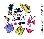 summer bright beach elements.... | Shutterstock .eps vector #459486103