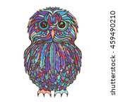 vector hand drawn owl bird on... | Shutterstock .eps vector #459490210
