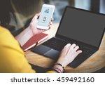 mockup copy space blank screen... | Shutterstock . vector #459492160