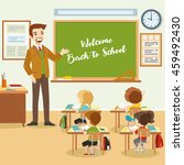 male teacher with pupils in the ... | Shutterstock .eps vector #459492430