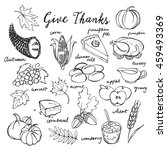 thanksgiving icons hand drawn... | Shutterstock .eps vector #459493369