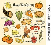 thanksgiving icons hand drawn... | Shutterstock .eps vector #459493378