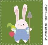 cute rabbit holds organic... | Shutterstock .eps vector #459496060