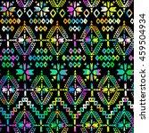 aztec print over painted ikat...   Shutterstock . vector #459504934