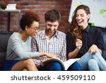 colleagues communicating during ... | Shutterstock . vector #459509110