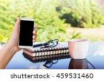 hand with blank screen... | Shutterstock . vector #459531460