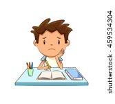 sad child  homework  studying ...   Shutterstock .eps vector #459534304