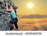 young woman climbing natural... | Shutterstock . vector #459546934