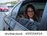 beautiful businesswoman in car. | Shutterstock . vector #459554914