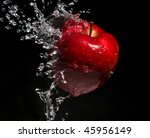 Apple Water Splash On Black...