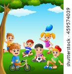 happy kids playing on the field | Shutterstock .eps vector #459574039