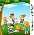 happy kids learning on the field | Shutterstock .eps vector #459574069
