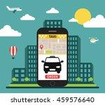 booking taxi via mobile app....   Shutterstock .eps vector #459576640