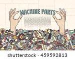 poster template   hand sticking ...   Shutterstock .eps vector #459592813