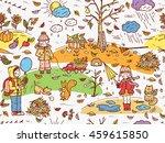 hand drawn doodle childhood... | Shutterstock .eps vector #459615850