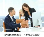 smiling businesswoman showing... | Shutterstock . vector #459619309
