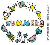 summer hand drawn collection... | Shutterstock .eps vector #459622114