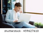 businessman smiling while... | Shutterstock . vector #459627610