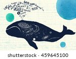 big blue whale and cosmic space ... | Shutterstock .eps vector #459645100