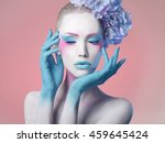 creative fashion beauty... | Shutterstock . vector #459645424