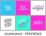 set of colorful hand lettering... | Shutterstock . vector #459658363