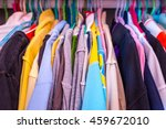 colorful clothes on hangers in... | Shutterstock . vector #459672010