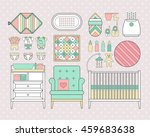 baby care set. vector products... | Shutterstock .eps vector #459683638