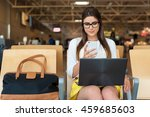 airport young female passenger... | Shutterstock . vector #459685603