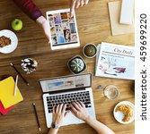 friends hangout electronics... | Shutterstock . vector #459699220