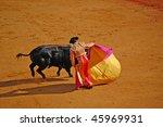 "SEVILLE - APRIL 30: Bullfighter David Fandila ""El Fandi"" during the first stage of a bullfight at the Plaza de Toros de Sevilla April 30, 2009 in Seville, Spain. - stock photo"