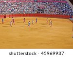 SEVILLE - APRIL 30:Bullfighters march into the ring at the at the Plaza de Toros de Sevilla April 30, 2009 in Seville, Spain. - stock photo