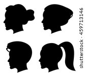 set of woman silhouette with... | Shutterstock . vector #459713146