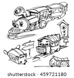 sketch of funny trains