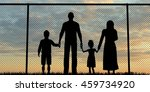 silhouette of a refugees family ... | Shutterstock . vector #459734920