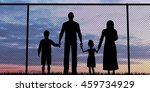 silhouette of a refugees family ... | Shutterstock . vector #459734929