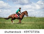 young woman riding a horse on... | Shutterstock . vector #459737356