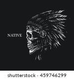 Skull Indian Chief Hand Drawin...