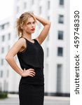 elegant business woman in black ... | Shutterstock . vector #459748330