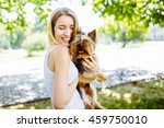 beautiful girl holding a... | Shutterstock . vector #459750010