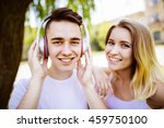cheerful young couple having...   Shutterstock . vector #459750100