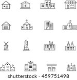 vector line buildings icon set | Shutterstock .eps vector #459751498