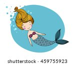 beautiful little mermaid. siren.... | Shutterstock .eps vector #459755923