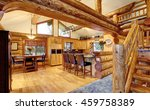 Log Cabin House Interior Of...