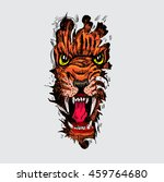 tiger anger. colorful tattoo.... | Shutterstock .eps vector #459764680