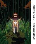 a biker making his way through... | Shutterstock .eps vector #459768889