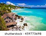 azure beach with rocky... | Shutterstock . vector #459773698