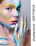 painted beautiful woman face ...   Shutterstock . vector #459774919