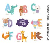 cute zoo alphabet in vector. a  ... | Shutterstock .eps vector #459780508