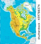 north america   physical map  | Shutterstock .eps vector #459788374