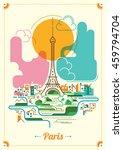 colorful paris illustration.... | Shutterstock .eps vector #459794704